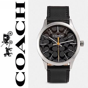 Coach Men's Watch Baxter  W1584 Leather Black